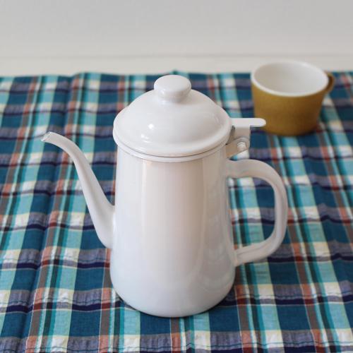 コーヒードリップポット ホーロー 白 ウォーターピッチャー 1L 日本製 琺瑯 コーヒー用品